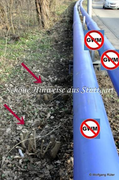 Behauptet wurde im Gutachten zur Planänderung, die Trasse würde entlang der Ehmannstraße rechts der Laternenmasten auf dem Fußweg geführt, und nicht im Grünstreifen.