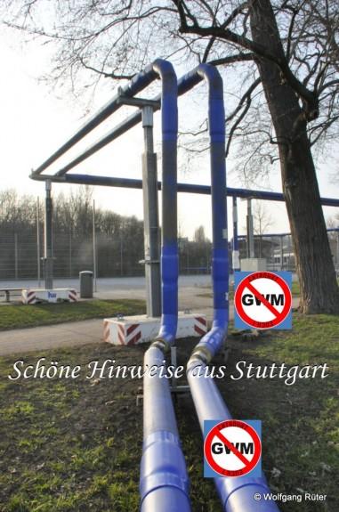 Beim Bolzplatz im Rosensteinpark, rechts die zu große Infiltrationsleitung, im Hintergrund der Brunnen 116, an einem noch nicht genehmigten Standort.