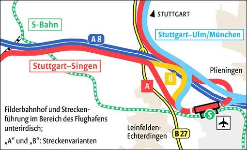 Streckenführung Filderbahnhof
