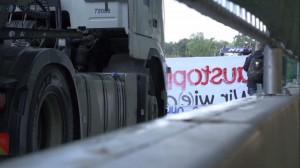 Blockade an der Stuttgart21 Baugrube Filderportal, 17.09.2013