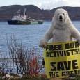 """Im Rahmen eines internationalen Tages der Solidarität mit den """"Arctic 30"""" protestieren Greenpeace-Aktivisten am Samstag (5. Oktober) in 45 deutschen Städten für die Freilassung der Arctic Sunrise-Besatzung, die in Russland nach friedlichen Protesten an einer Gazprom-Bohrinsel wegen Piraterie angeklagt ist."""