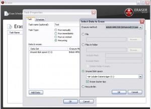 Eraser Task: Freien Speicherplatz auf der Festplatte löschen