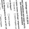 """Die Initiative """"Widerstand – Hauptsache dabei oder darf´s a bißle mehr sein?"""" verteilt in diesen Minuten diese Umfrage (link) auf der 210. Montagsdemo. cams21 unterstützt diese Umfragen aktiv und wird […]"""