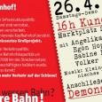 Samstags-Demo gegen Stuttgart 21 26. April 2014 ab 16 Uhr auf dem Stuttgarter Marktplatz Redner: Egon Hopfenzitz, ehem. Bahnhofsvorsteher des Stuttgarter Hauptbahnhofs Sabine Leidig, MdB, Mitglied im Verkehrsausschuss des Bundestags […]