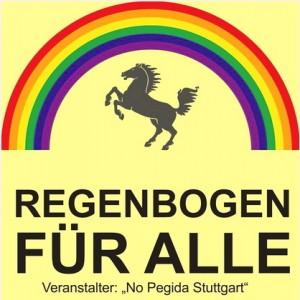 demo für alle unterstützer banner pegida regenbogen