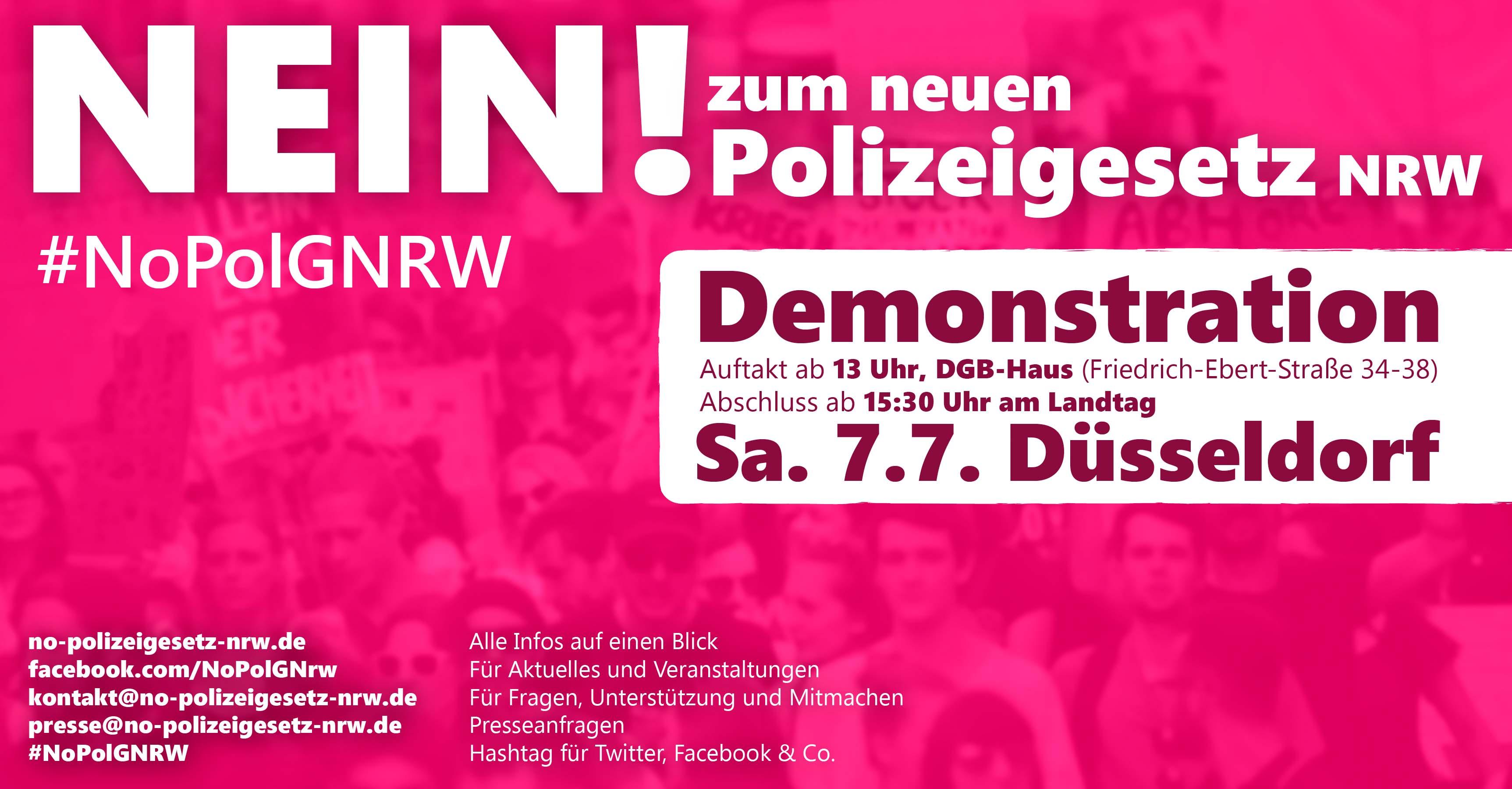 Demonstration gegen das neue Polizeigesetz Nordrhein-Westfalen